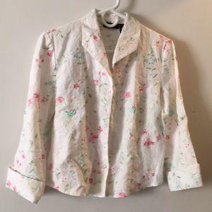 Embroidered linen blouse Sz 4 Grace Elements
